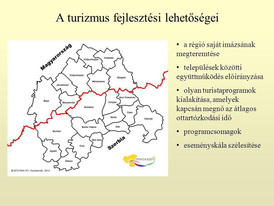 A turizmus fejlesztési lehetőségei a régió saját imázsának megteremtése települések közötti együttműködés előirányzása olyan turistaprogramok kialakítása, amelyek kapcsán megnő az átlagos ottartózkodási idő programcsomagok eseményskála szélesítése