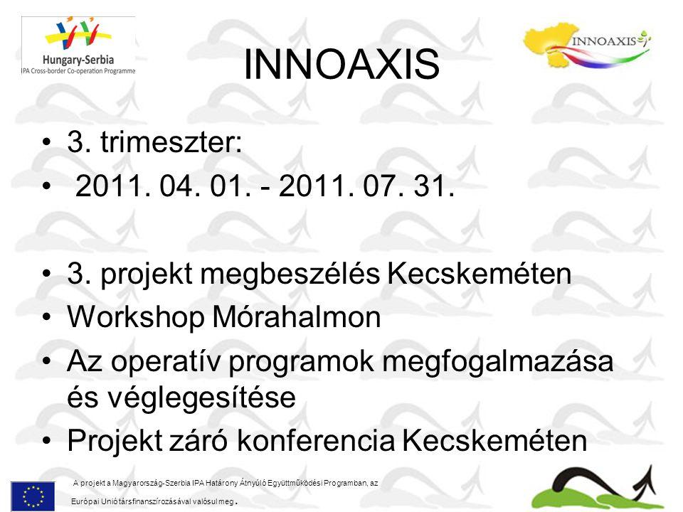 INNOAXIS 3. trimeszter: 2011. 04. 01. - 2011. 07. 31. 3. projekt megbeszélés Kecskeméten Workshop Mórahalmon Az operatív programok megfogalmazása és v