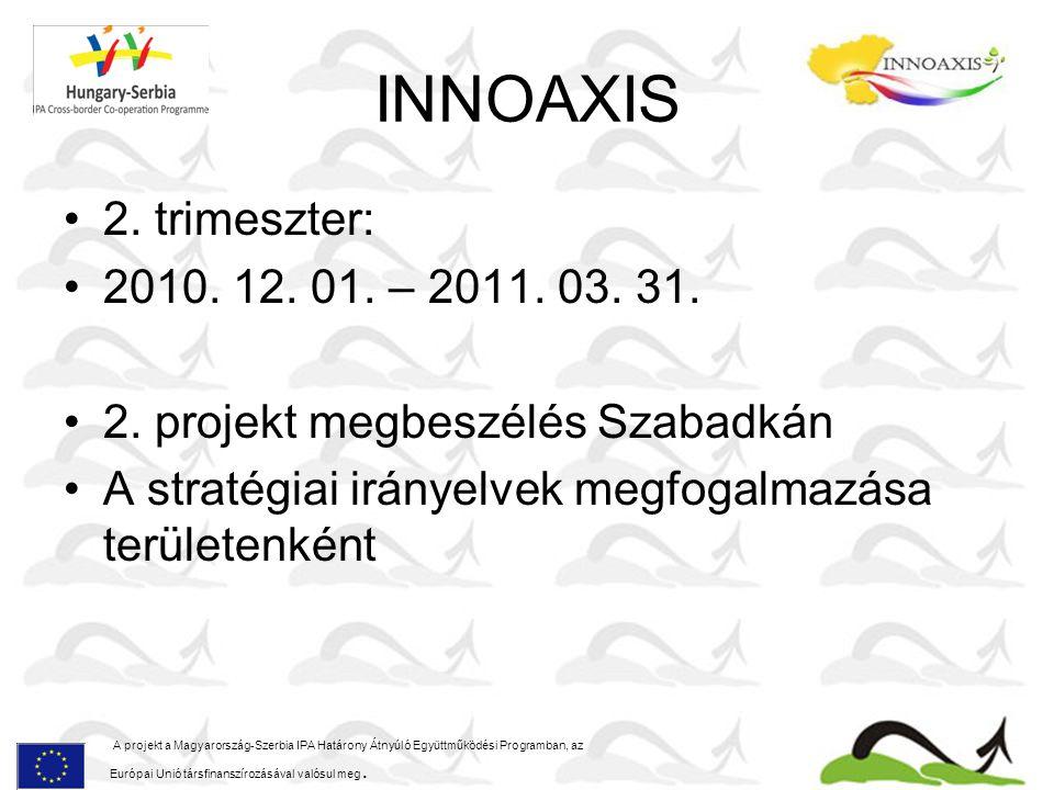 INNOAXIS 2. trimeszter: 2010. 12. 01. – 2011. 03. 31. 2. projekt megbeszélés Szabadkán A stratégiai irányelvek megfogalmazása területenként A projekt