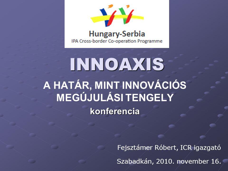 INNOAXIS A HATÁR, MINT INNOVÁCIÓS MEGÚJULÁSI TENGELY Fejsztámer Róbert, ICR igazgató Szabadkán, 2010. november 16. konferencia