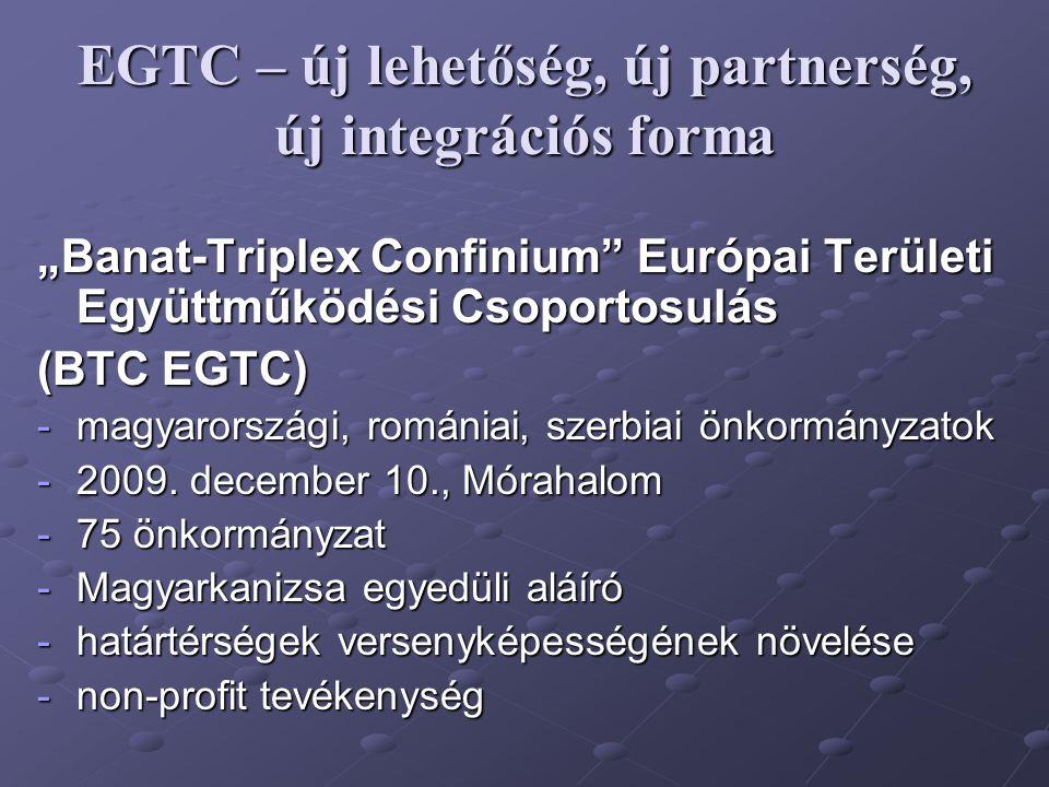 """EGTC – új lehetőség, új partnerség, új integrációs forma """"Banat-Triplex Confinium"""" Európai Területi Együttműködési Csoportosulás (BTC EGTC) -magyarors"""