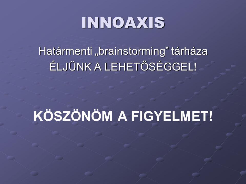 """INNOAXIS Határmenti """"brainstorming"""" tárháza ÉLJÜNK A LEHETŐSÉGGEL! KÖSZÖNÖM A FIGYELMET!"""