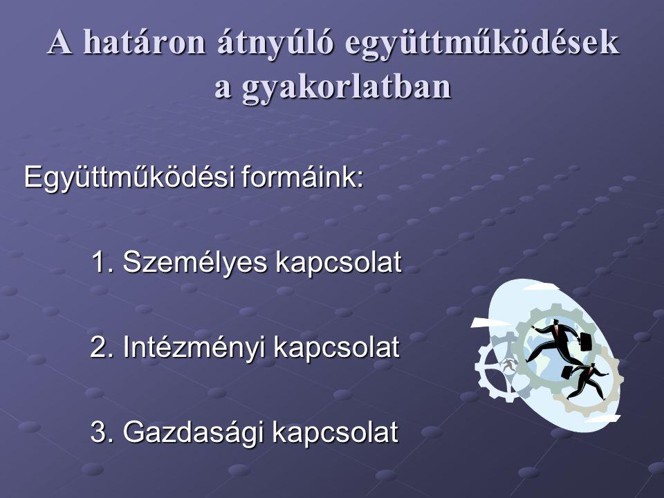 A határon átnyúló együttműködések a gyakorlatban Együttműködési formáink: 1. Személyes kapcsolat 2. Intézményi kapcsolat 3. Gazdasági kapcsolat