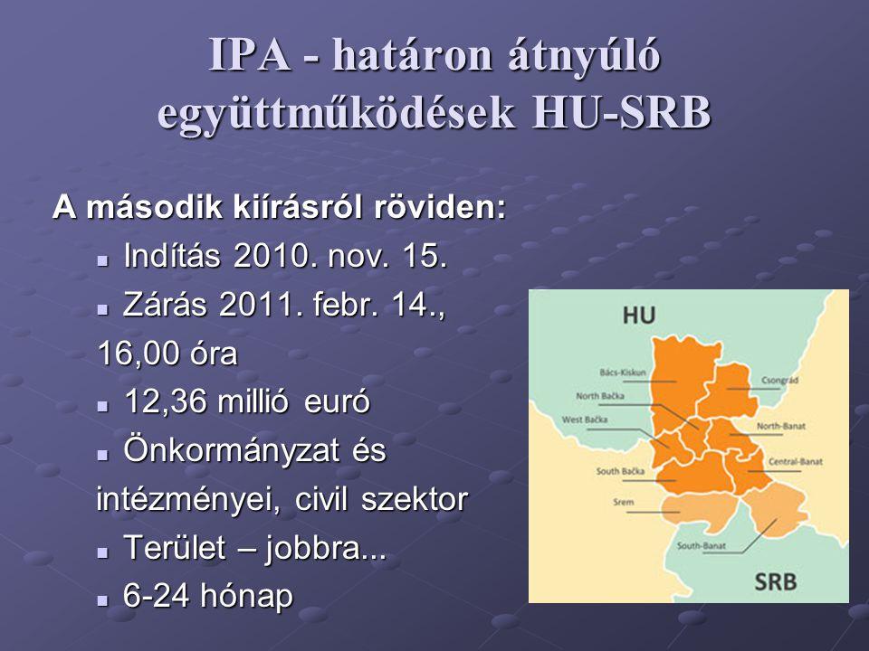 IPA - határon átnyúló együttműködések HU-SRB A második kiírásról röviden: Indítás 2010. nov. 15. Indítás 2010. nov. 15. Zárás 2011. febr. 14., Zárás 2