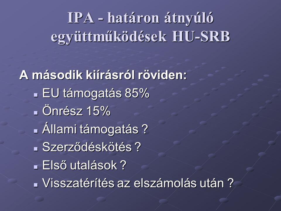 IPA - határon átnyúló együttműködések HU-SRB A második kiírásról röviden: EU támogatás 85% EU támogatás 85% Önrész 15% Önrész 15% Állami támogatás ? Á