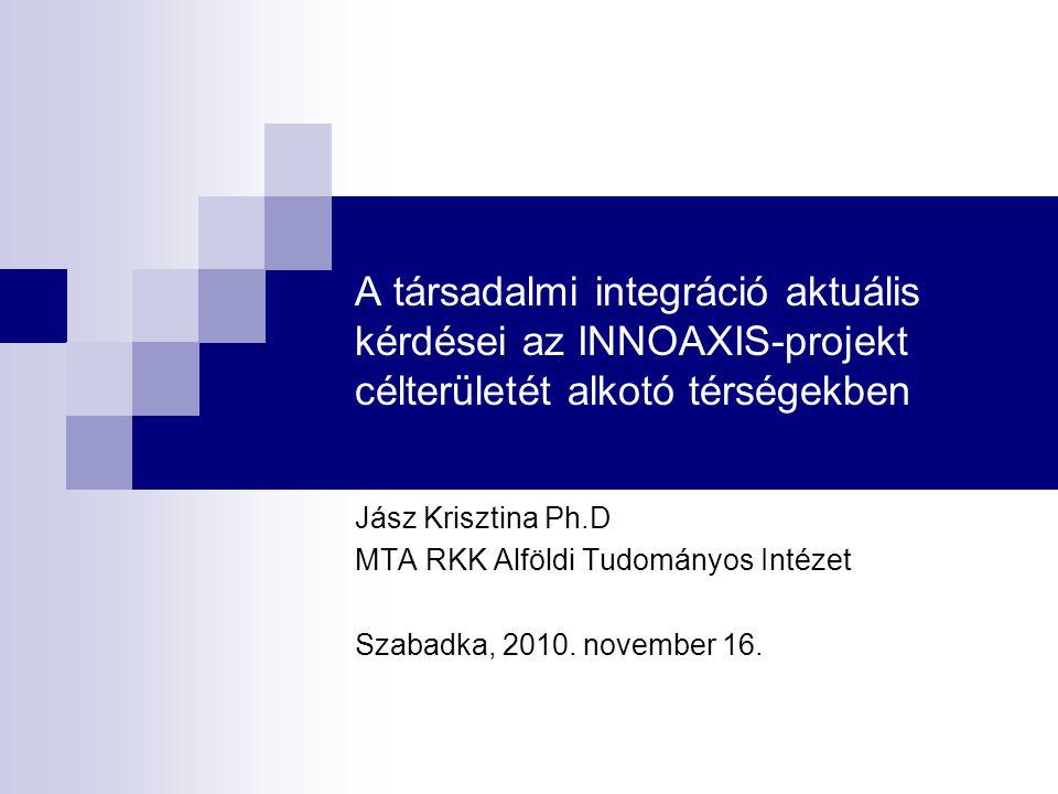 A társadalmi integráció aktuális kérdései az INNOAXIS-projekt célterületét alkotó térségekben Jász Krisztina Ph.D MTA RKK Alföldi Tudományos Intézet Szabadka, 2010.
