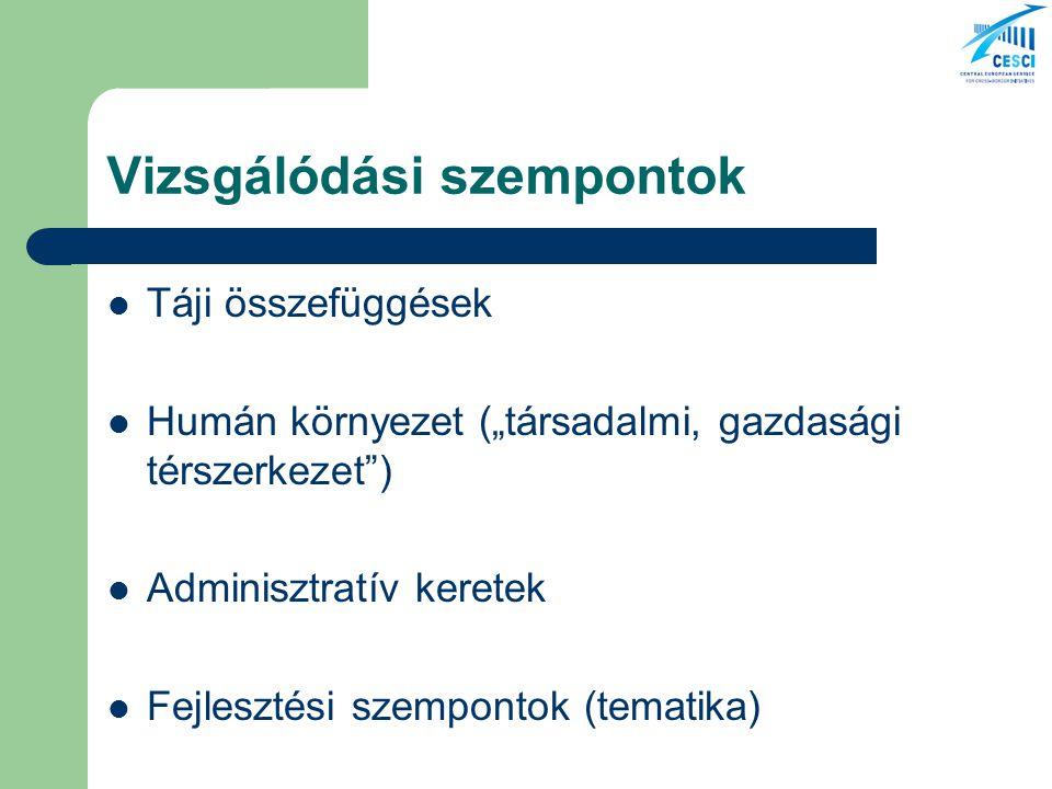 """Vizsgálódási szempontok Táji összefüggések Humán környezet (""""társadalmi, gazdasági térszerkezet ) Adminisztratív keretek Fejlesztési szempontok (tematika)"""