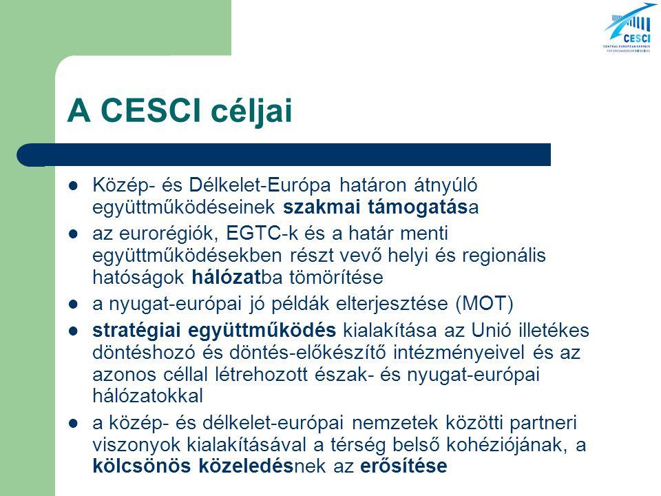 A CESCI céljai Közép- és Délkelet-Európa határon átnyúló együttműködéseinek szakmai támogatása az eurorégiók, EGTC-k és a határ menti együttműködésekben részt vevő helyi és regionális hatóságok hálózatba tömörítése a nyugat-európai jó példák elterjesztése (MOT) stratégiai együttműködés kialakítása az Unió illetékes döntéshozó és döntés-előkészítő intézményeivel és az azonos céllal létrehozott észak- és nyugat-európai hálózatokkal a közép- és délkelet-európai nemzetek közötti partneri viszonyok kialakításával a térség belső kohéziójának, a kölcsönös közeledésnek az erősítése