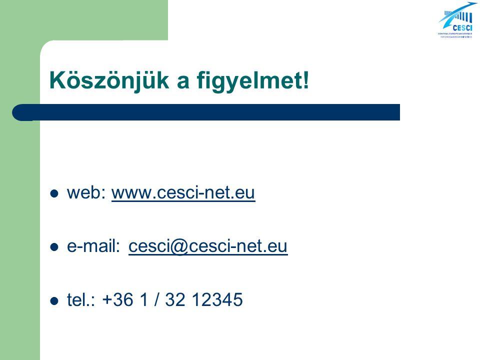 Köszönjük a figyelmet! web: www.cesci-net.euwww.cesci-net.eu e-mail: cesci@cesci-net.eucesci@cesci-net.eu tel.: +36 1 / 32 12345