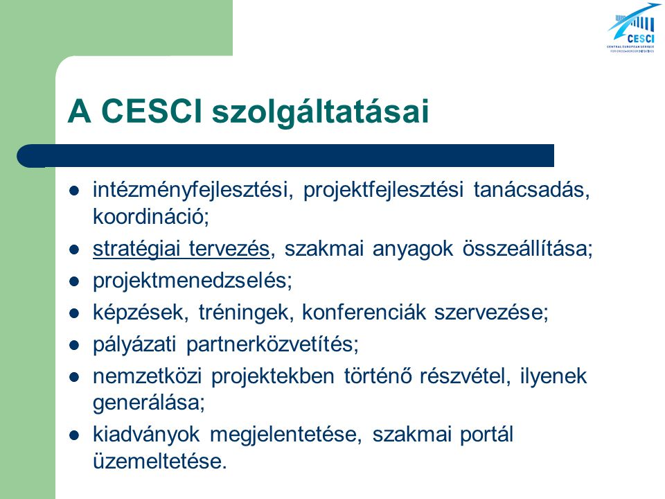 A CESCI szolgáltatásai intézményfejlesztési, projektfejlesztési tanácsadás, koordináció; stratégiai tervezés, szakmai anyagok összeállítása; stratégiai tervezés projektmenedzselés; képzések, tréningek, konferenciák szervezése; pályázati partnerközvetítés; nemzetközi projektekben történő részvétel, ilyenek generálása; kiadványok megjelentetése, szakmai portál üzemeltetése.