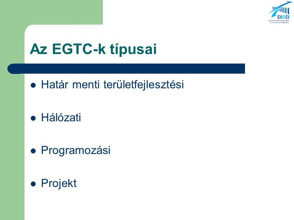 Az EGTC-k típusai Határ menti területfejlesztési Hálózati Programozási Projekt