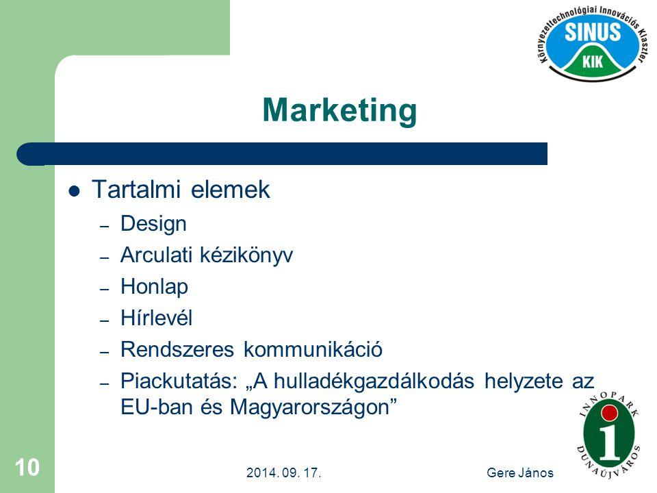 """2014. 09. 17.Gere János 10 Marketing Tartalmi elemek – Design – Arculati kézikönyv – Honlap – Hírlevél – Rendszeres kommunikáció – Piackutatás: """"A hul"""
