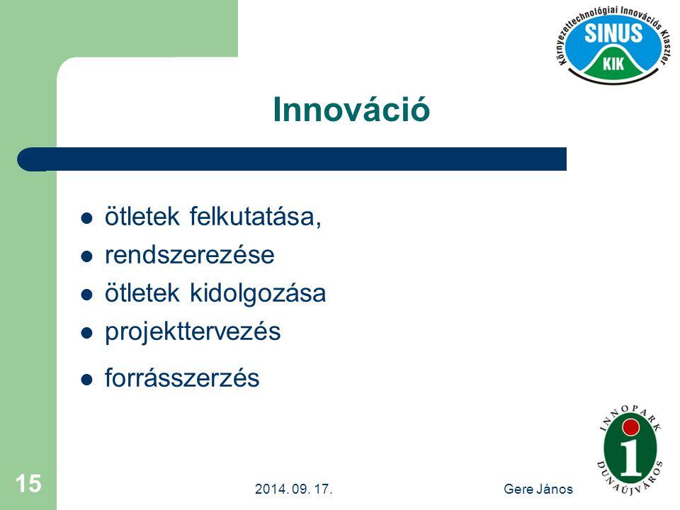 2014. 09. 17.Gere János 15 Innováció ötletek felkutatása, rendszerezése ötletek kidolgozása projekttervezés forrásszerzés