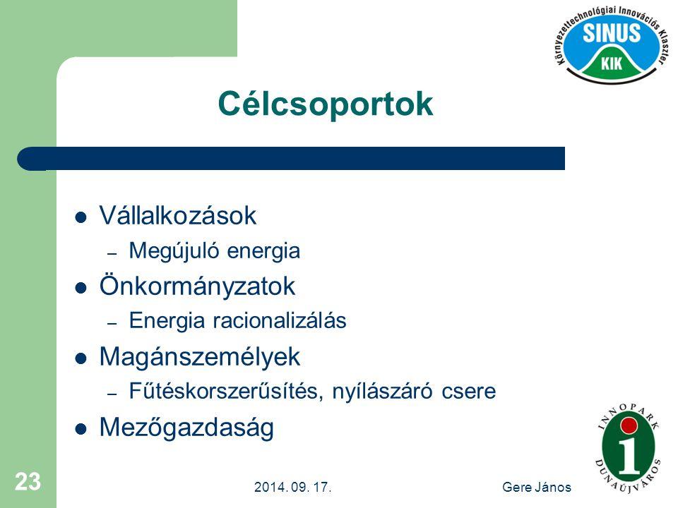 2014. 09. 17.Gere János 23 Célcsoportok Vállalkozások – Megújuló energia Önkormányzatok – Energia racionalizálás Magánszemélyek – Fűtéskorszerűsítés,