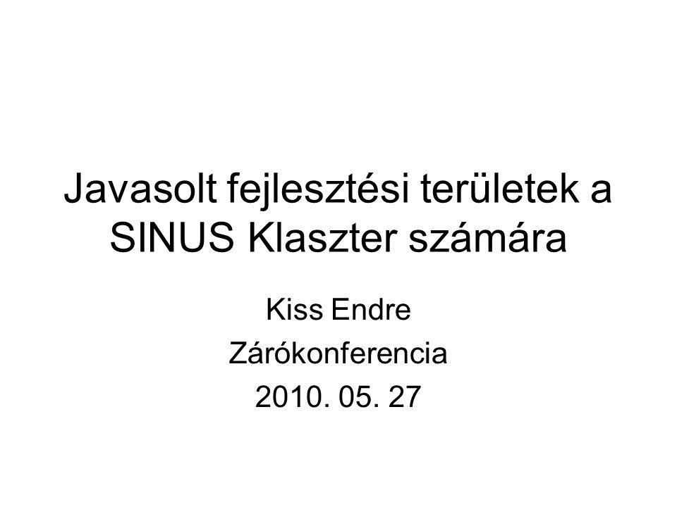 Javasolt fejlesztési területek a SINUS Klaszter számára Kiss Endre Zárókonferencia 2010. 05. 27