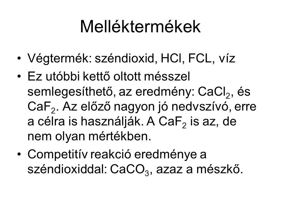Melléktermékek Végtermék: széndioxid, HCl, FCL, víz Ez utóbbi kettő oltott mésszel semlegesíthető, az eredmény: CaCl 2, és CaF 2.