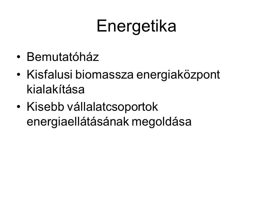 Energetika Bemutatóház Kisfalusi biomassza energiaközpont kialakítása Kisebb vállalatcsoportok energiaellátásának megoldása
