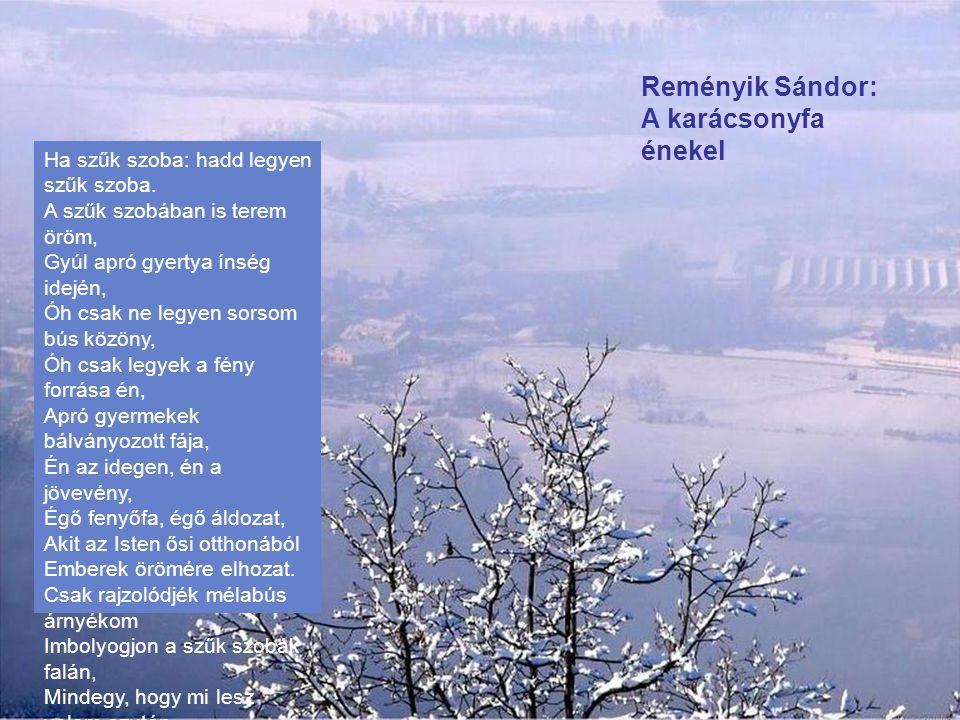 Reményik Sándor: A betlehemes Jékely Mártának Az ott Szeben - - Három fenyőfa közt elfér a képe. A látcsövemen át Nézem ezt a kis játék- skatulyát. Ol