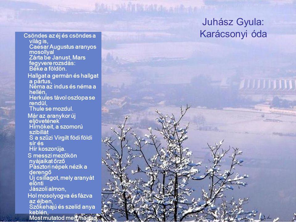 Juhász Gyula: Karácsony felé Szép Tündérország támad föl szívemben –Ilyenkor decemberben. A szeretetnek csillagára nézek, Megszáll egy titkos, gyönyör