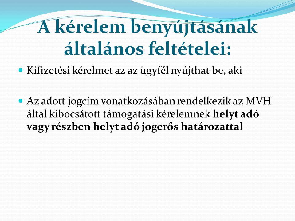 A kérelem benyújtásának általános feltételei: Kifizetési kérelmet az az ügyfél nyújthat be, aki Az adott jogcím vonatkozásában rendelkezik az MVH álta