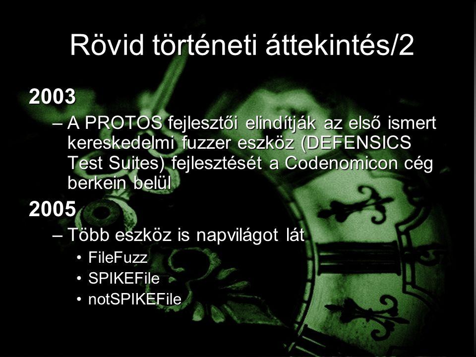 Rövid történeti áttekintés/2 2003 –A PROTOS fejlesztői elindítják az első ismert kereskedelmi fuzzer eszköz (DEFENSICS Test Suites) fejlesztését a Codenomicon cég berkein belül 2005 –Több eszköz is napvilágot lát FileFuzzFileFuzz SPIKEFileSPIKEFile notSPIKEFilenotSPIKEFile