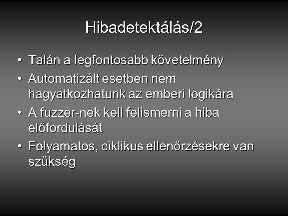Hibadetektálás/2 Talán a legfontosabb követelményTalán a legfontosabb követelmény Automatizált esetben nem hagyatkozhatunk az emberi logikáraAutomatizált esetben nem hagyatkozhatunk az emberi logikára A fuzzer-nek kell felismerni a hiba előfordulásátA fuzzer-nek kell felismerni a hiba előfordulását Folyamatos, ciklikus ellenőrzésekre van szükségFolyamatos, ciklikus ellenőrzésekre van szükség