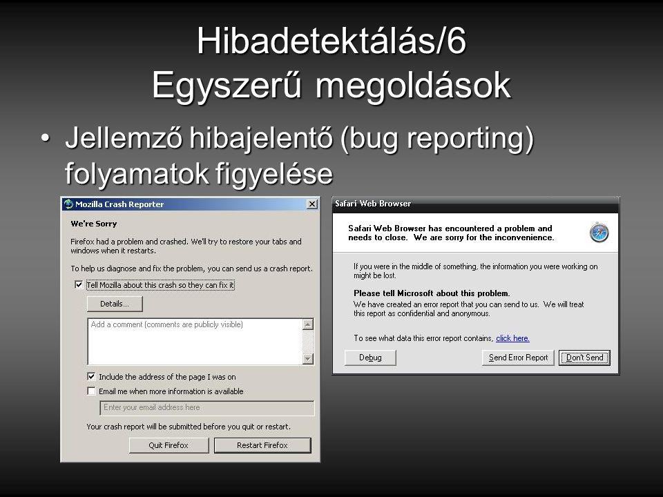 Hibadetektálás/6 Egyszerű megoldások Jellemző hibajelentő (bug reporting) folyamatok figyeléseJellemző hibajelentő (bug reporting) folyamatok figyelése