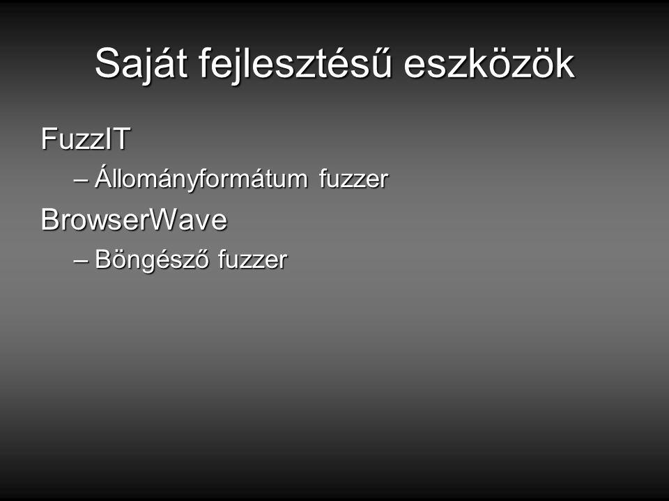 FuzzIT –Állományformátum fuzzer BrowserWave –Böngésző fuzzer