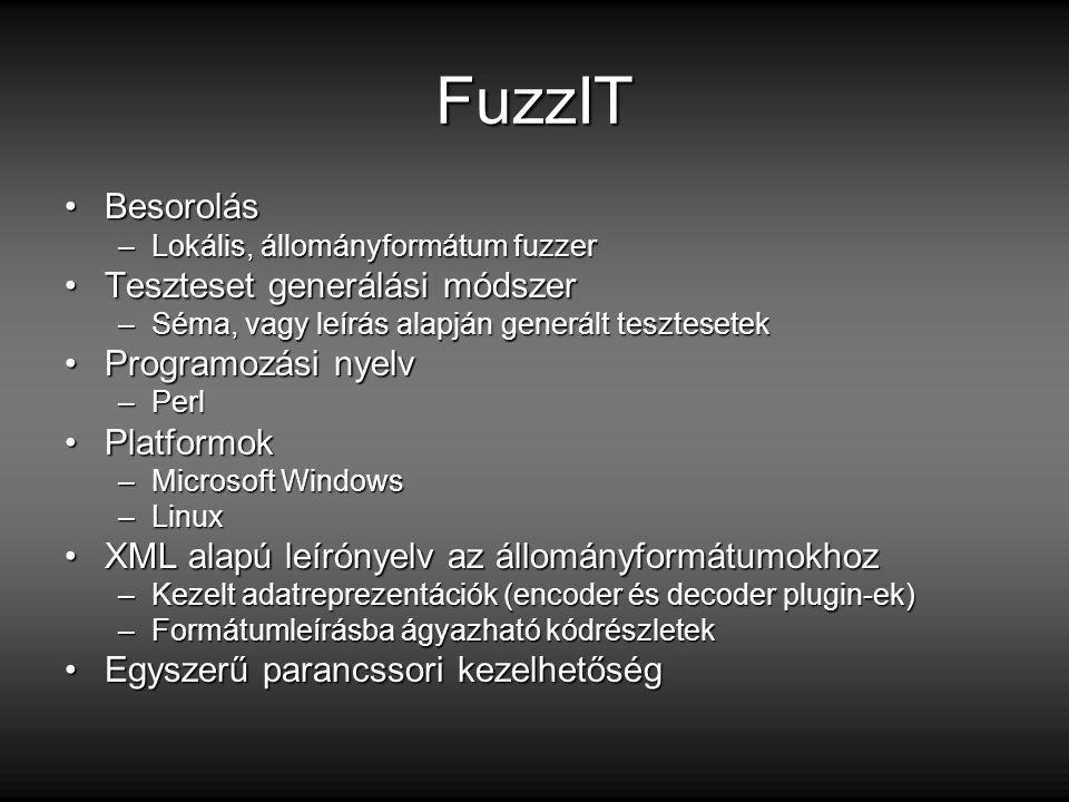 FuzzIT BesorolásBesorolás –Lokális, állományformátum fuzzer Teszteset generálási módszerTeszteset generálási módszer –Séma, vagy leírás alapján generált tesztesetek Programozási nyelvProgramozási nyelv –Perl PlatformokPlatformok –Microsoft Windows –Linux XML alapú leírónyelv az állományformátumokhozXML alapú leírónyelv az állományformátumokhoz –Kezelt adatreprezentációk (encoder és decoder plugin-ek) –Formátumleírásba ágyazható kódrészletek Egyszerű parancssori kezelhetőségEgyszerű parancssori kezelhetőség