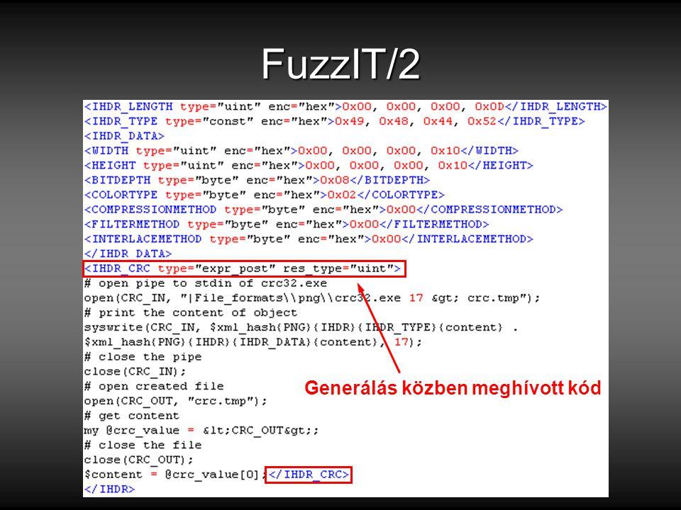 FuzzIT/2 Generálás közben meghívott kód