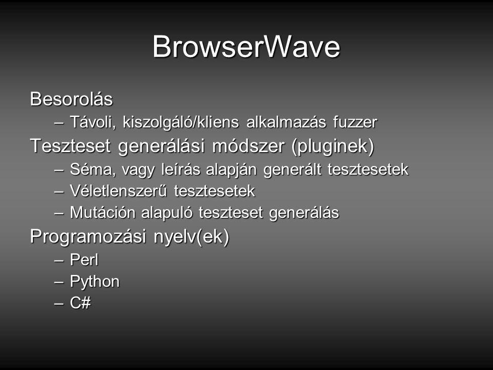 BrowserWave Besorolás –Távoli, kiszolgáló/kliens alkalmazás fuzzer Teszteset generálási módszer (pluginek) –Séma, vagy leírás alapján generált tesztesetek –Véletlenszerű tesztesetek –Mutáción alapuló teszteset generálás Programozási nyelv(ek) –Perl –Python –C#