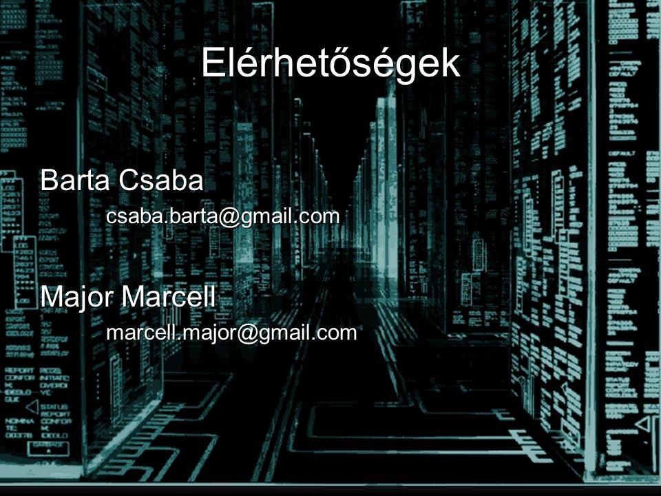 Elérhetőségek Barta Csaba csaba.barta@gmail.com Major Marcell marcell.major@gmail.com