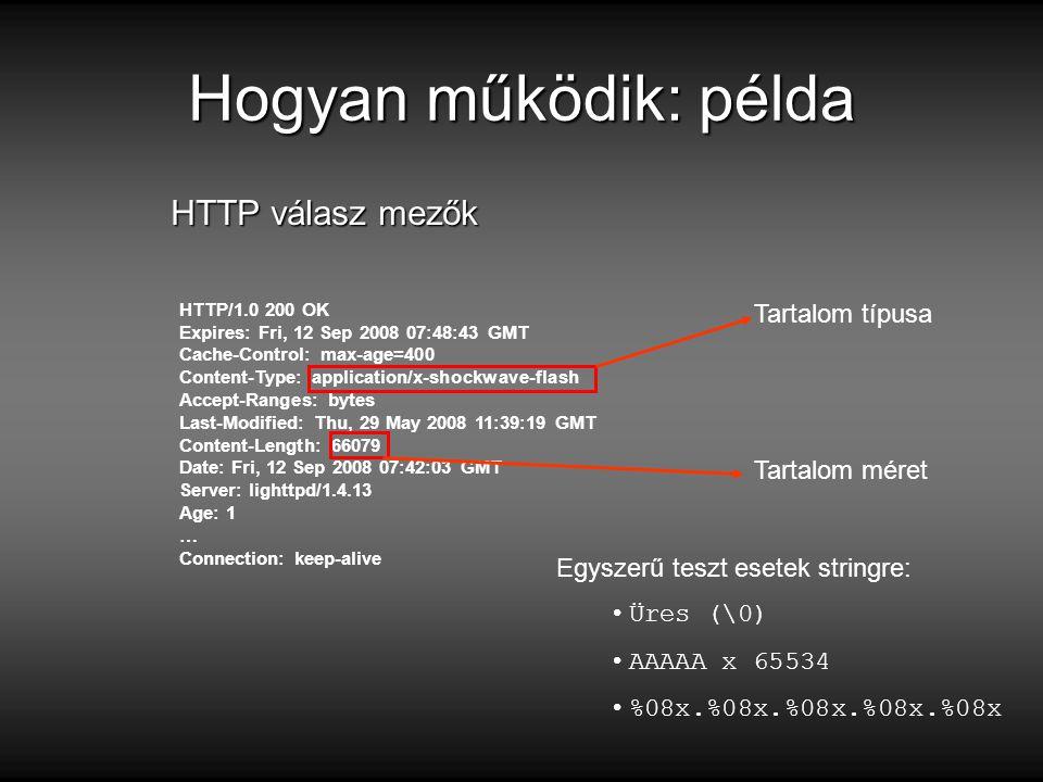 Hogyan működik: példa HTTP/1.0 200 OK Expires: Fri, 12 Sep 2008 07:48:43 GMT Cache-Control: max-age=400 Content-Type: application/x-shockwave-flash Accept-Ranges: bytes Last-Modified: Thu, 29 May 2008 11:39:19 GMT Content-Length: 66079 Date: Fri, 12 Sep 2008 07:42:03 GMT Server: lighttpd/1.4.13 Age: 1 … Connection: keep-alive HTTP válasz mezők Tartalom típusa Tartalom méret Egyszerű teszt esetek stringre: Üres (\0) AAAAA x 65534 %08x.%08x.%08x.%08x.%08x