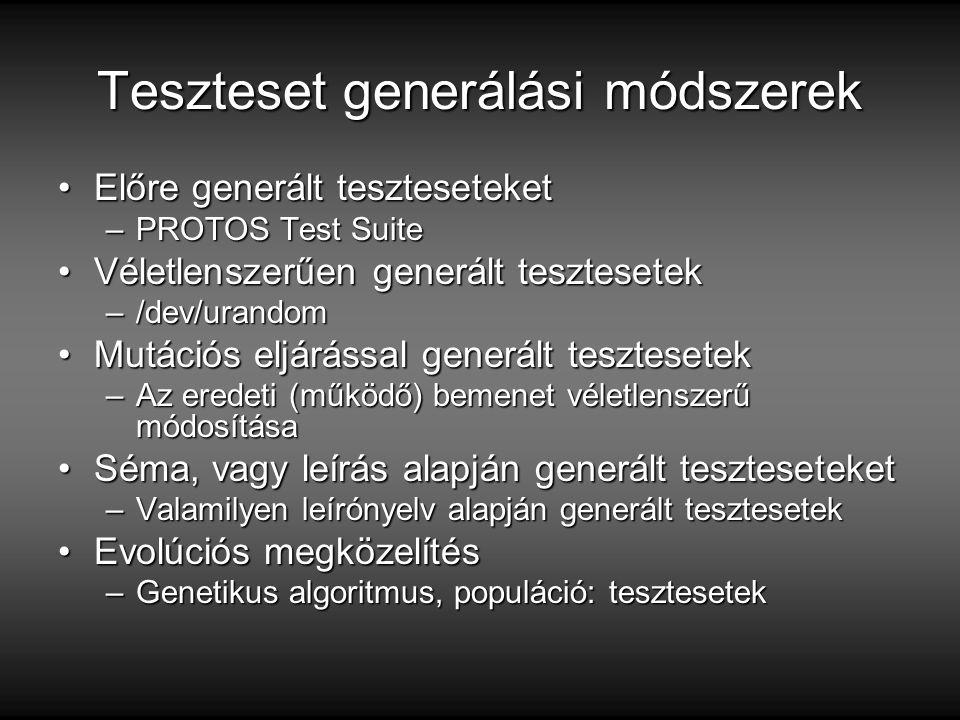 Teszteset generálási módszerek Előre generált teszteseteketElőre generált teszteseteket –PROTOS Test Suite Véletlenszerűen generált tesztesetekVéletlenszerűen generált tesztesetek –/dev/urandom Mutációs eljárással generált tesztesetekMutációs eljárással generált tesztesetek –Az eredeti (működő) bemenet véletlenszerű módosítása Séma, vagy leírás alapján generált teszteseteketSéma, vagy leírás alapján generált teszteseteket –Valamilyen leírónyelv alapján generált tesztesetek Evolúciós megközelítésEvolúciós megközelítés –Genetikus algoritmus, populáció: tesztesetek