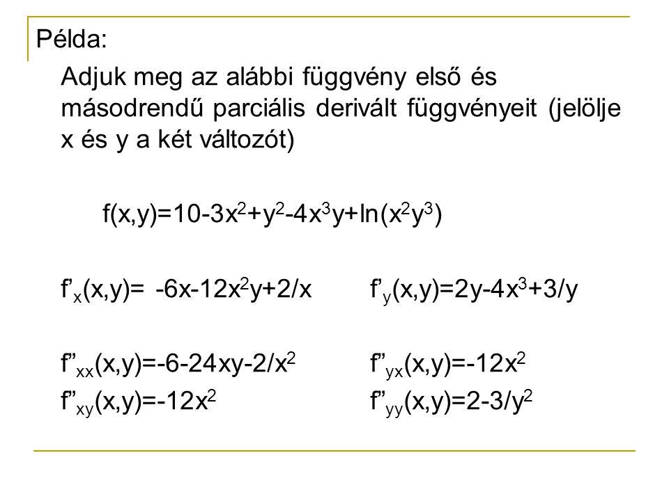 Példa: Adjuk meg az alábbi függvény első és másodrendű parciális derivált függvényeit (jelölje x és y a két változót) f(x,y)=10-3x 2 +y 2 -4x 3 y+ln(x