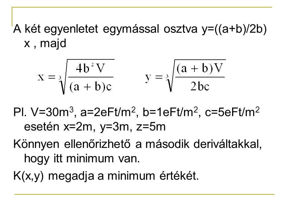 A két egyenletet egymással osztva y=((a+b)/2b) x, majd Pl. V=30m 3, a=2eFt/m 2, b=1eFt/m 2, c=5eFt/m 2 esetén x=2m, y=3m, z=5m Könnyen ellenőrizhető a