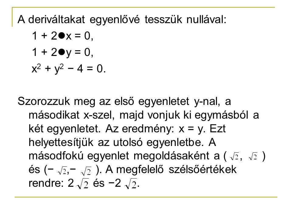A deriváltakat egyenlővé tesszük nullával: 1 + 2 x = 0, 1 + 2 y = 0, x 2 + y 2 − 4 = 0. Szorozzuk meg az első egyenletet y-nal, a másodikat x-szel, ma