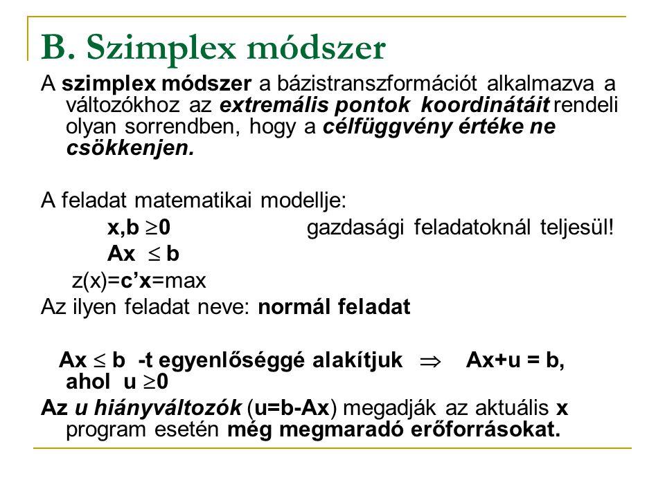 B. Szimplex módszer A szimplex módszer a bázistranszformációt alkalmazva a változókhoz az extremális pontok koordinátáit rendeli olyan sorrendben, hog
