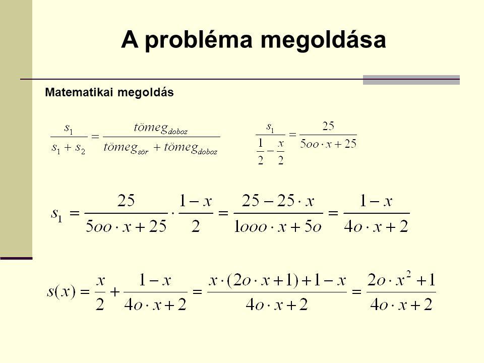 Matematikai megoldás A probléma megoldása