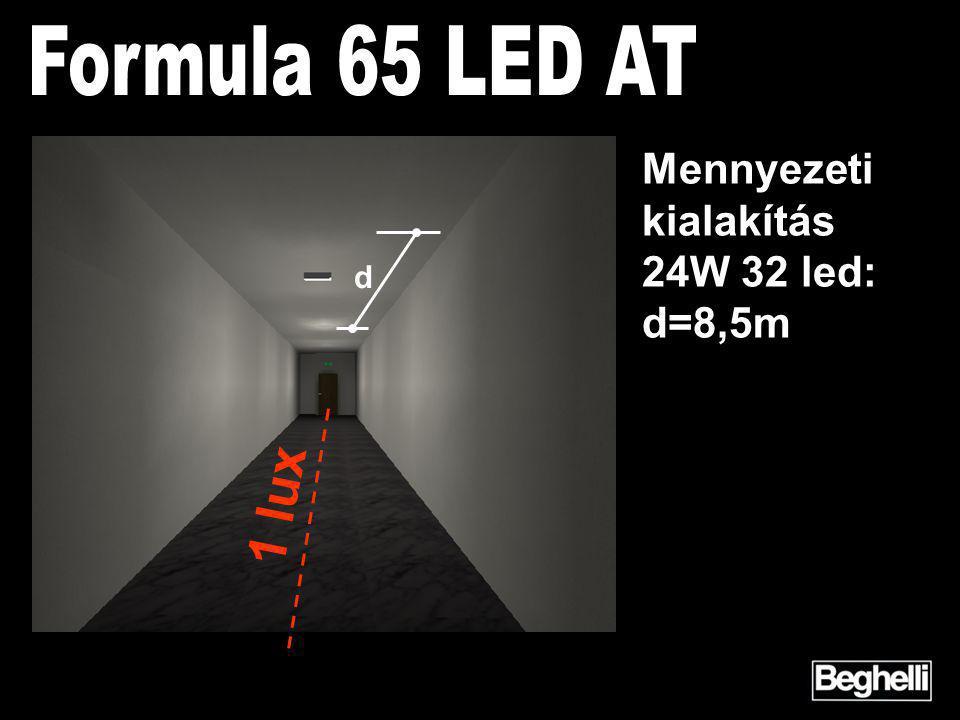d 1 lux Mennyezeti kialakítás 24W 32 led: d=8,5m
