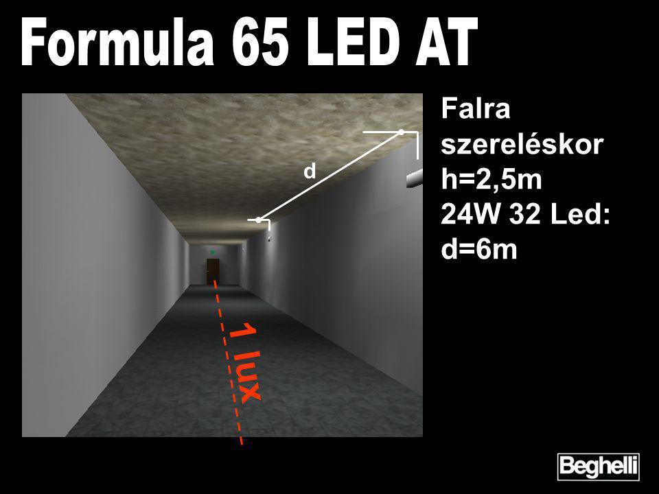 d 1 lux Falra szereléskor h=2,5m 24W 32 Led: d=6m