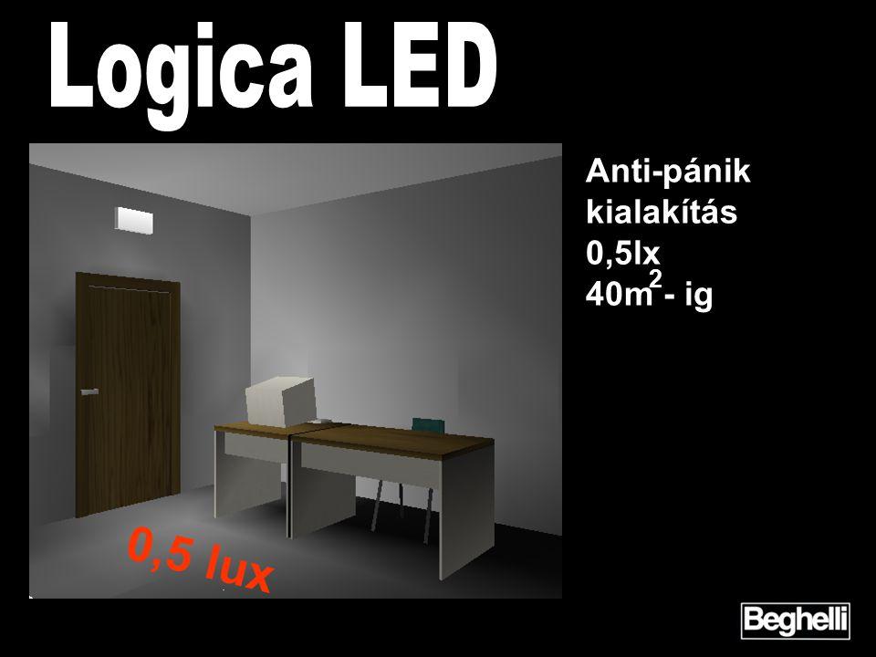 2 Anti-pánik kialakítás 0,5lx 40m - ig 0,5 lux