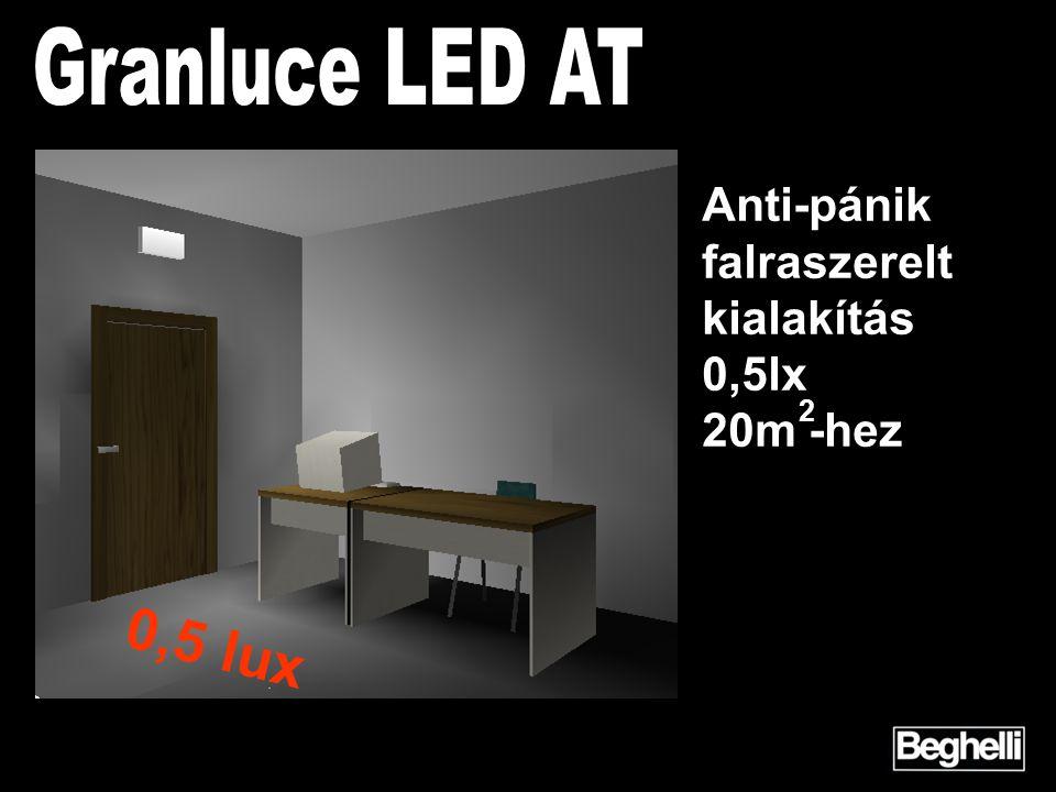 2 Anti-pánik falraszerelt kialakítás 0,5lx 20m -hez 0,5 lux