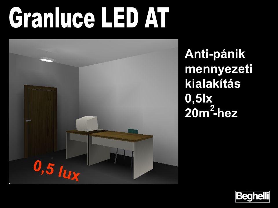 2 Anti-pánik mennyezeti kialakítás 0,5lx 20m -hez