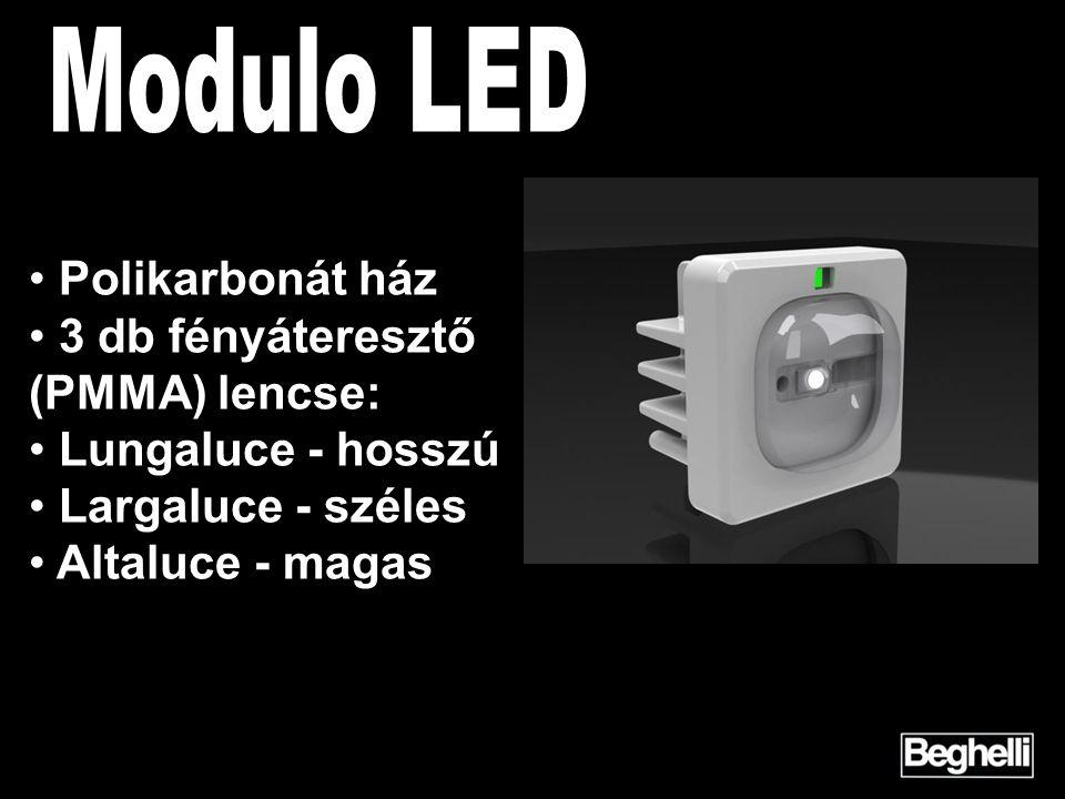 Polikarbonát ház 3 db fényáteresztő (PMMA) lencse: Lungaluce - hosszú Largaluce - széles Altaluce - magas