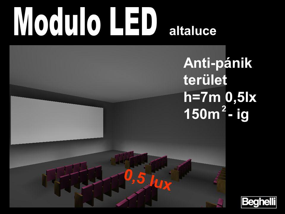 2 Anti-pánik terület h=7m 0,5lx 150m - ig altaluce 0,5 lux