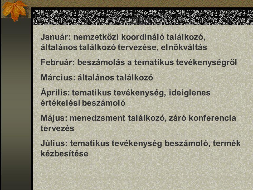 2007 Január: nemzetközi koordináló találkozó, általános találkozó tervezése, elnökváltás Február: beszámolás a tematikus tevékenységről Március: általános találkozó Április: tematikus tevékenység, ideiglenes értékelési beszámoló Május: menedzsment találkozó, záró konferencia tervezés Július: tematikus tevékenység beszámoló, termék kézbesítése