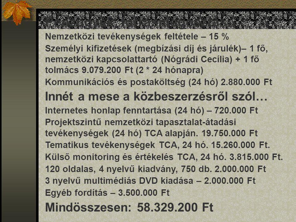 Pénzügyek, forrásmegosztás… Nemzetközi tevékenységek feltétele – 15 % Személyi kifizetések (megbízási díj és járulék)– 1 fő, nemzetközi kapcsolattartó (Nógrádi Cecília) + 1 fő tolmács 9.079.200 Ft (2 * 24 hónapra) Kommunikációs és postaköltség (24 hó) 2.880.000 Ft Innét a mese a közbeszerzésről szól… Internetes honlap fenntartása (24 hó) – 720.000 Ft Projektszintű nemzetközi tapasztalat-átadási tevékenységek (24 hó) TCA alapján.