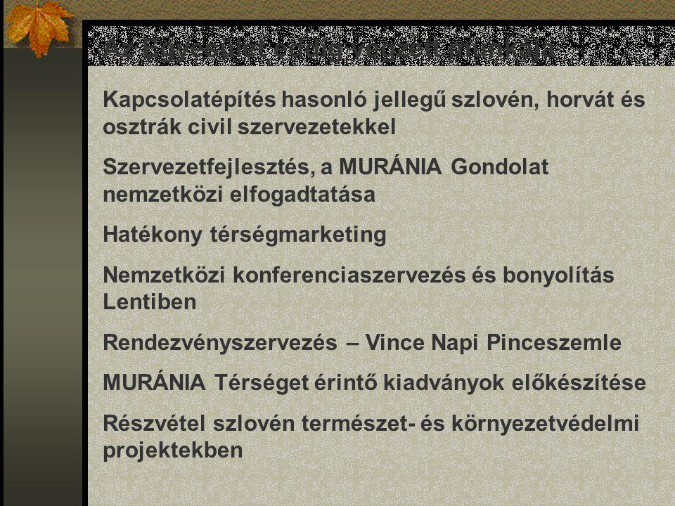 Az Egyesület eddig végzett munkája Kapcsolatépítés hasonló jellegű szlovén, horvát és osztrák civil szervezetekkel Szervezetfejlesztés, a MURÁNIA Gondolat nemzetközi elfogadtatása Hatékony térségmarketing Nemzetközi konferenciaszervezés és bonyolítás Lentiben Rendezvényszervezés – Vince Napi Pinceszemle MURÁNIA Térséget érintő kiadványok előkészítése Részvétel szlovén természet- és környezetvédelmi projektekben