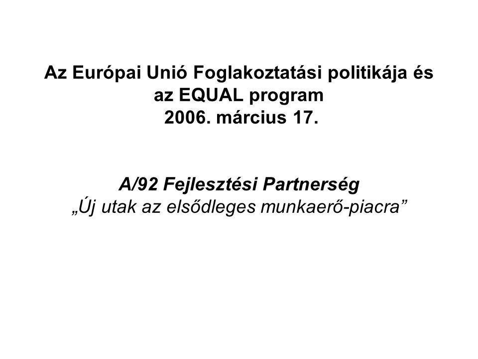 Az Európai Unió Foglakoztatási politikája és az EQUAL program 2006.